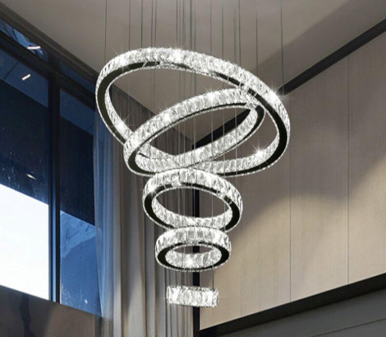 Luxo grande 1/2 / 3/4/5/6/7 / 8rings LED redondo cristal cristal lustre luz espiral pingente lâmpada moderna lustre luminária luminárias escadaria escurecimento