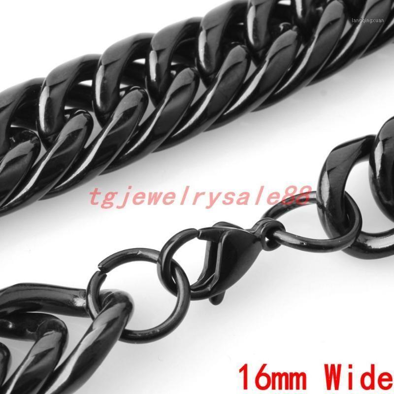 Popolare Biker Boy's Black Black Curb Black Curb Curb Braccialetto a catena di collegamento o collana gioielli 16mm largo 7-40 pollici1