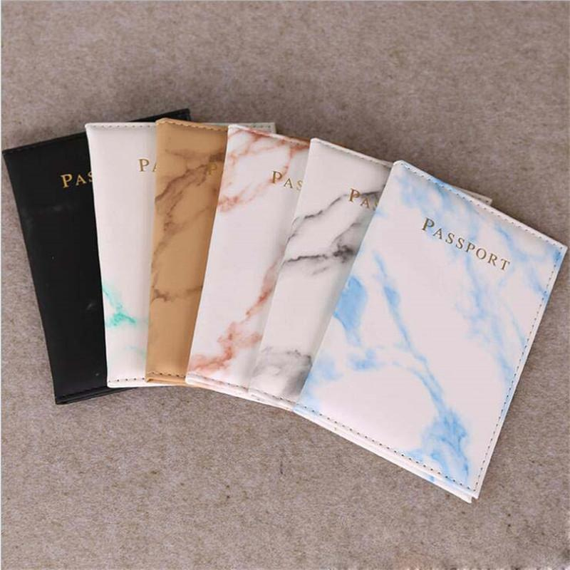 Fashion Women Men Passport Cover Pu Leather Marble Style Travel ID Credit Card Passport Holder Packet Wallet Purse Bags Pouch
