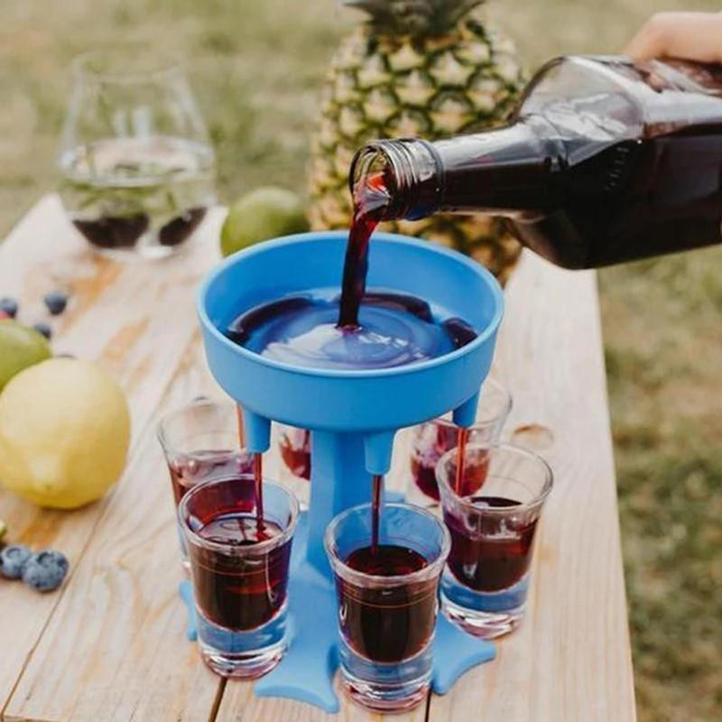 6 طلقة الزجاج موزع حامل المشروبات النبيذ ويسكي موزع سريع ملء النار الرف بار الملحقات حزب الألعاب أدوات الشرب