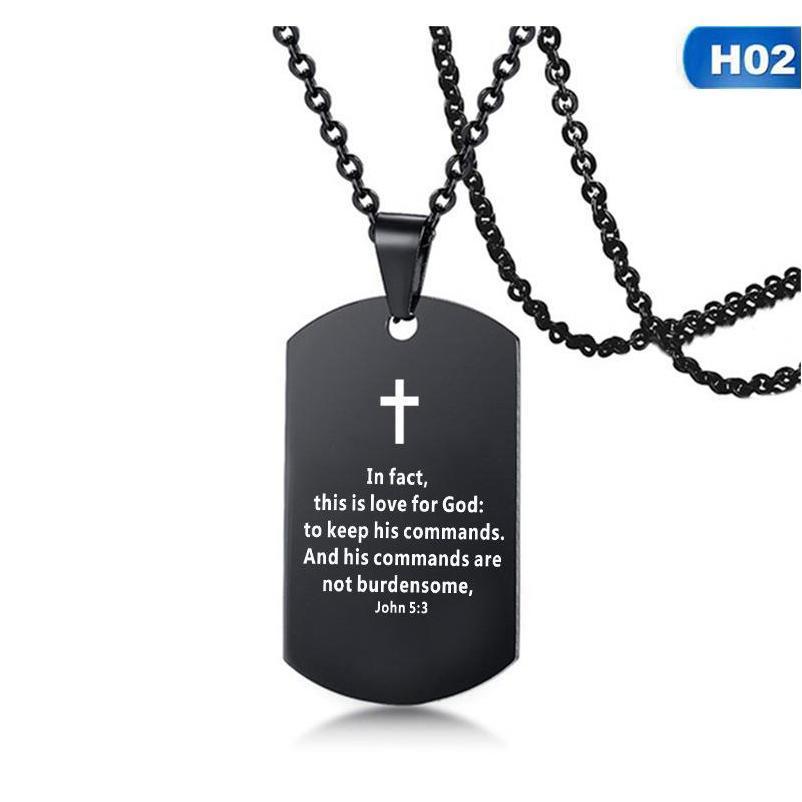 Bíblia versículo colar Cruz de aço inoxidável homens colar cão tag pingente jóias religiosas preto para chris sqckwx rainha66