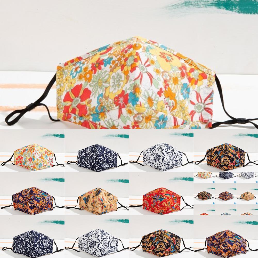 DHL-Versand Blumendruck Gesichtsmasken wiederverwendbar waschbar winddicht Anti-Staub-Maske Ski-warmem Mund-Deckung Frauen-Fashion-Gesichts-Gesichts-O4ZBE