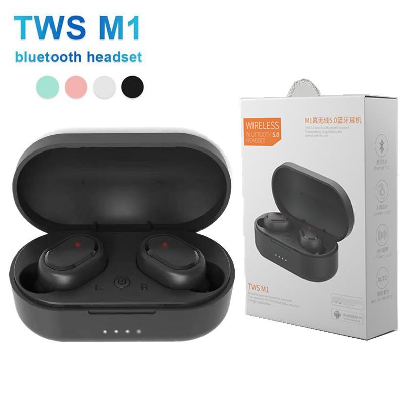 Tws Bluetooth-Kopfhörer M1 Bluetooth-Headsets Mini tragbare drahtlose Ohrhörer 5.0 Tws Kopfhörer Rauschen Abbrechen Mic Stereo Ohrhörer