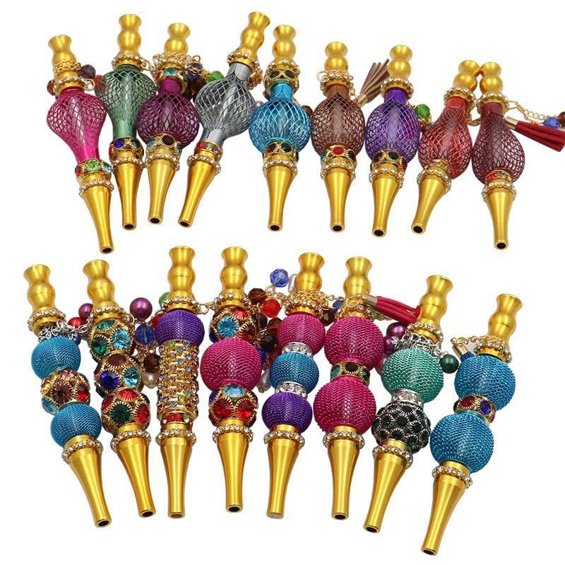 Smoking Metal pipe hookah mouth tips Shishas Hookahs Mouthpiece Hookahes Accessories Shisha Filter Inlaid Jewelry Diamond bongs