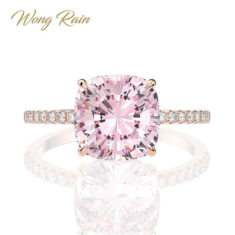 Wong Rain 100% 925 Sterling Silver Creato Moissanite Sapphire Gemstone Matrimonio Engagement Rose Gold Anello Belle Gioielli GrossalLj201214