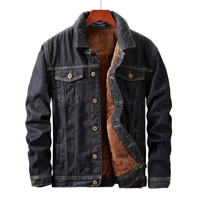 2020 Winter Männer und Mantel Warm Fleece Jeansjacke Mode Herren Jean Jacken