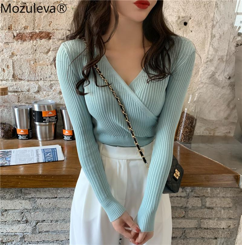 Mozuleva Herbst Winter Einfache Allgleiche V-Ausschnitt Kreuz Frauen Pullover Slim Weibliche Strickpullover Tops Full Sleeve-Jumper 201119
