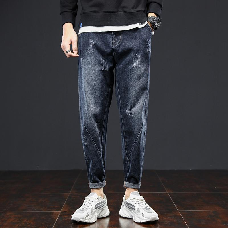 Мужские джинсы 2021 осенних мужчин Slim Harem мода прилив бренд эластичные джинсовые прямые брюки мужские растягивающиеся папа брюки плюс размер 5xl