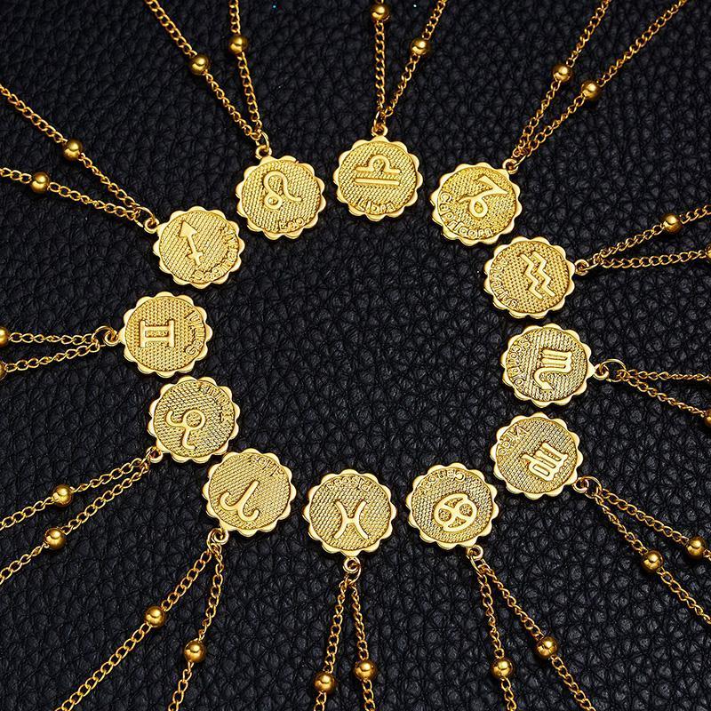 2021 Moda 12 Zodyak Işareti Kolye Altın Yuvarlak Para Kolye Takımyıldızı Kolye Kadınlar için Moda Takı Doğum Günü Hediyesi