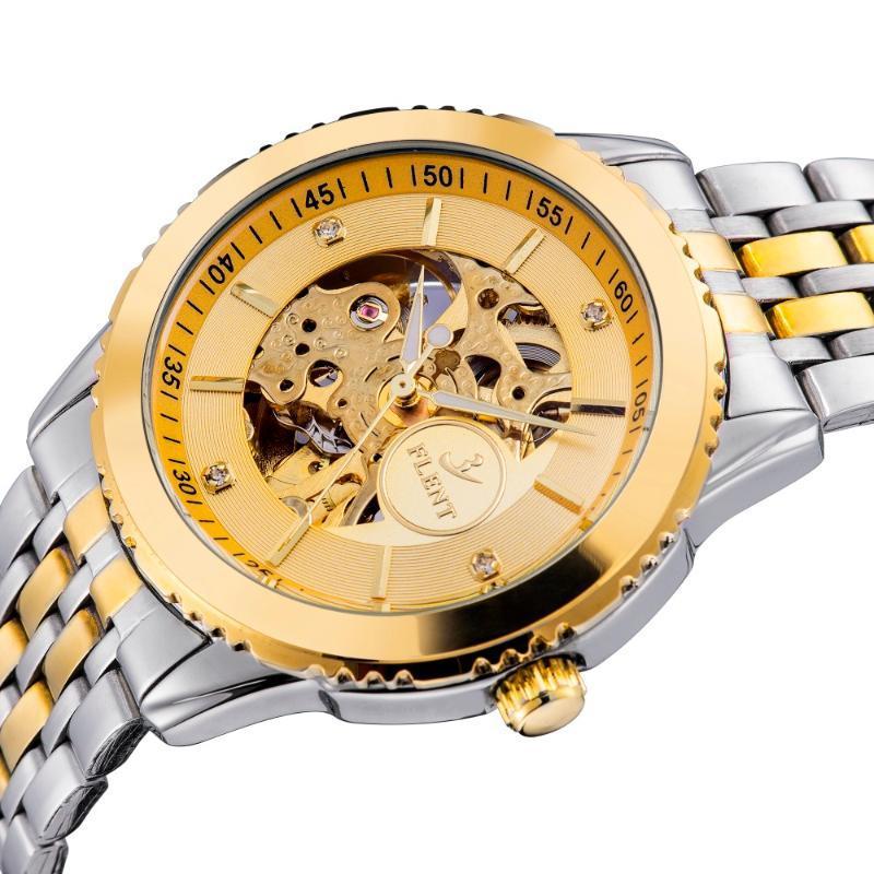 Männer-elegante Geschäfts-Selbstwicklungs-Uhr, voller Stahl Automatische Analog Armbanduhr