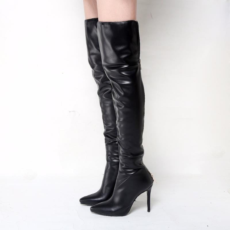 Venta caliente-Unisex Hombres Mujeres Sexy 12 cm Super High Tacón alto sobre la rodilla Botas puntiagudas con punta con cremallera Tacones de estilete Botas