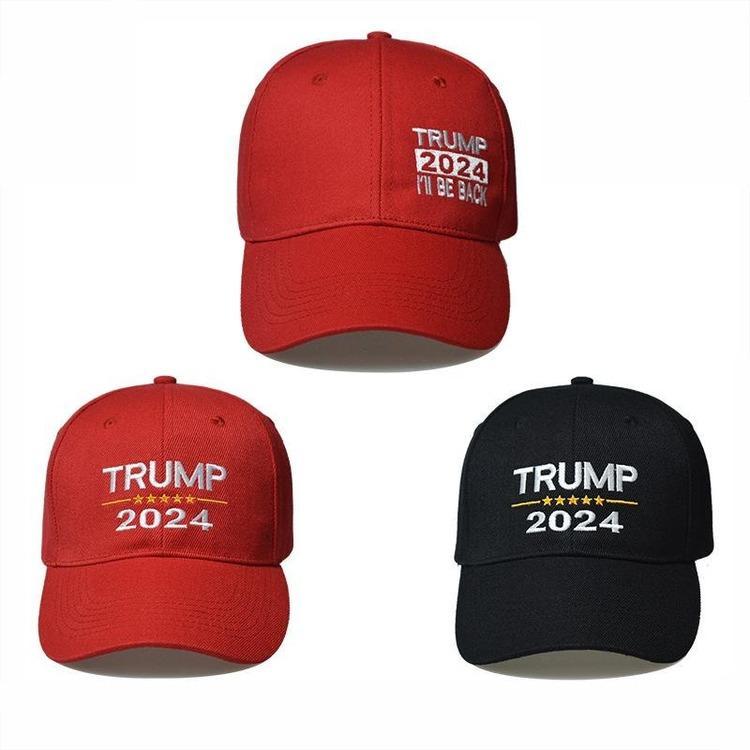 Triunfo 2024 sombrero triunfo triunfo de algodón béisbol gorra de béisbol con hebillas ajustables letras de bordado de EE.UU. Cap de color rojo y negro para al aire libre