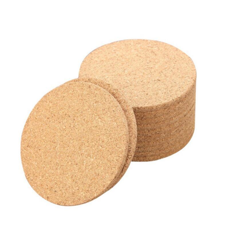 فنجان القهوة الطبيعية حصيرة جولة الخشب مقاومة للحرارة الفلين كوستر حصيرة الشاي شرب الوسادة الجدول ديكور بالجملة