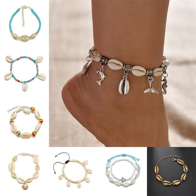 Bohemian Sea Shell Anklet For Women Seed Beads chains Dolphin Turtle Pendant Charm Summer Beach Barefoot ankle Bracelet On Leg 117 L2