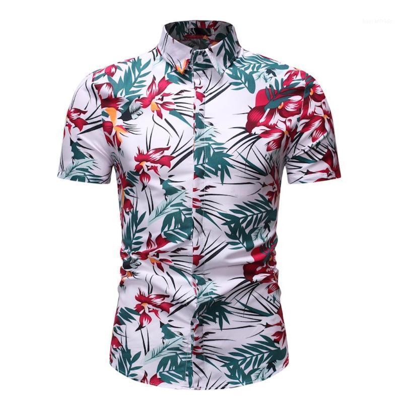 T-shirt Hommes Summer Casual Hawaiian Shirt Confy Collier De Du Dejet imprimé Slim Fit Top Blouse Blouse Hommes Camisa Hombre1
