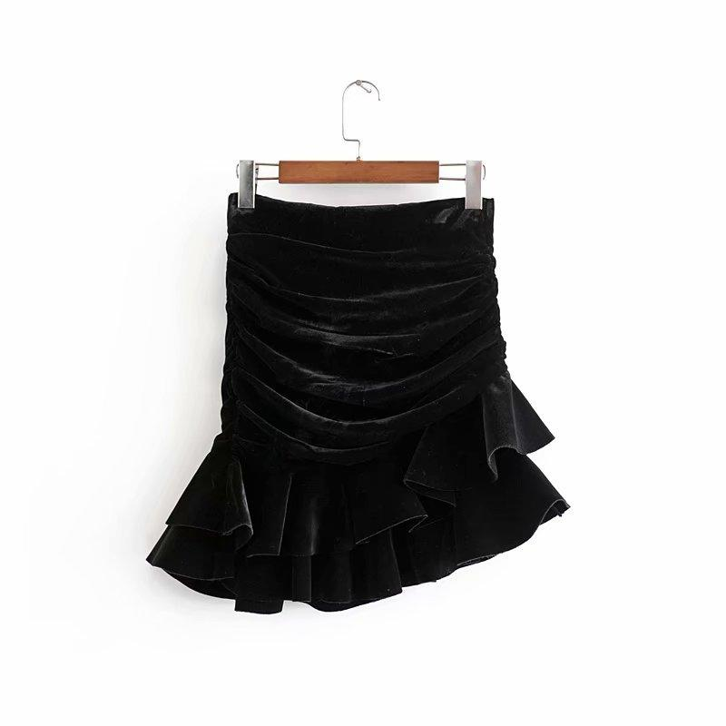 Vintage chique ruched assimétrico veludo saia za 2019 moda mulheres volta zíper mini saias casuais jupe femme q1209