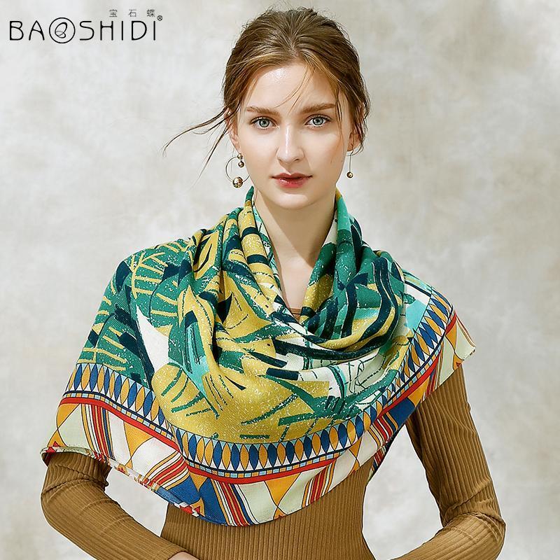 [Baoshidi] 2020 мода 100% шерсть зимние шарфы женщины, теплые мягкие элегантные леди квадрат бесконечности, подарок для женщин