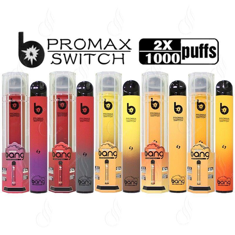 Bang Xxtra Pro Max Promax 스위치 2 in 1 더블 포드 1000 + 1000 퍼프 일회용 vape 펜 Maxpro 트위스트 듀얼 카트리지 2in1 기화기 바