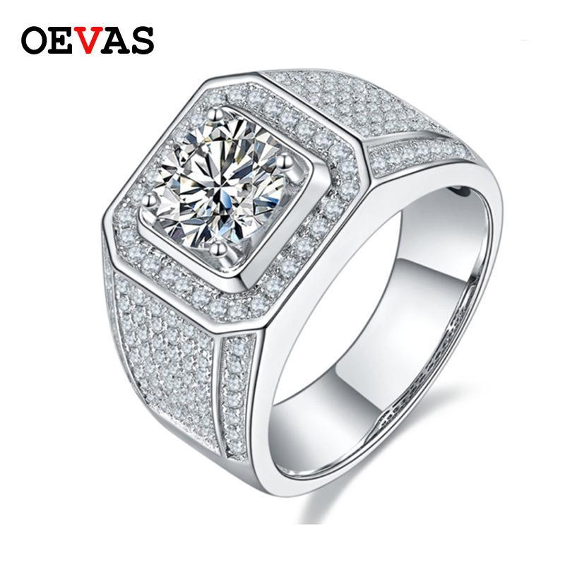 Oevas Real 2 S D Couleur Moissanite Hommes Bague 100% 925 Sterling Sterling Full High Carbon Diamond Party Bijoux fins
