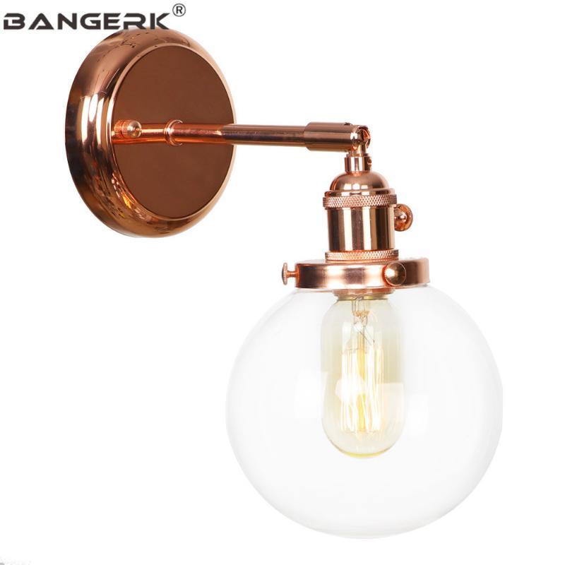 Duvar Lambası Gül Altın Demir Vintage Loft Dekor Cam Aplikler LED Edison Işık Anahtarı Başucu Ev Aydınlatma Armatürleri