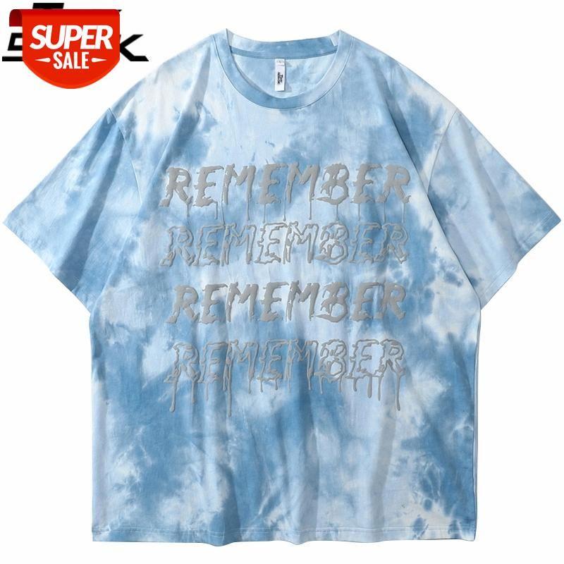 Erkekler Hip Hop Streetwear Boy Tişört Kravat Boya Mektup Baskı T Gömlek Harajuku Pamuk Gevşek Kısa Kollu Tshirt Büyük Boy Gömlek # FQ92