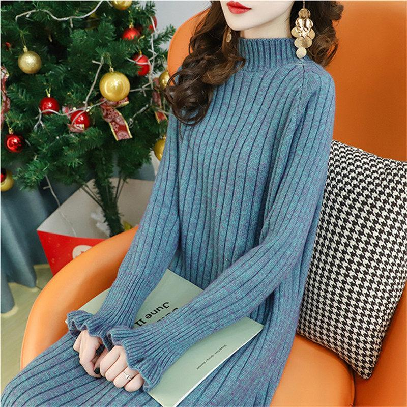 Простой повседневный дикий свитер длинные пуловерные женские 2020 года осенью и зима новая свободная теплая половина высокой шеи вязаное платье джемпер Y834