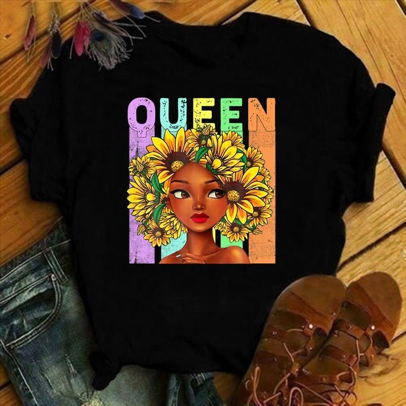 Mulher Rainha Tops Mujeres Afro Mulheres Melanin T Camiseta Camisa De Girassol Preto Camisetas Kawaii Ropa Moda Para De Cabelo Roupas 2020 Psene