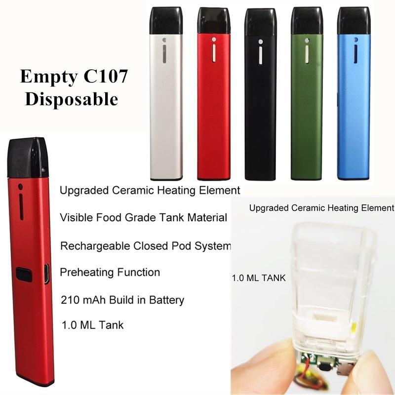 충전식 일회용 vape 펜 키트 큰 증기 1.0ml 0.5ml 예열 충전식 100 % 중금속 안전 vape 폐쇄 포드 시스템 C107 비어있는