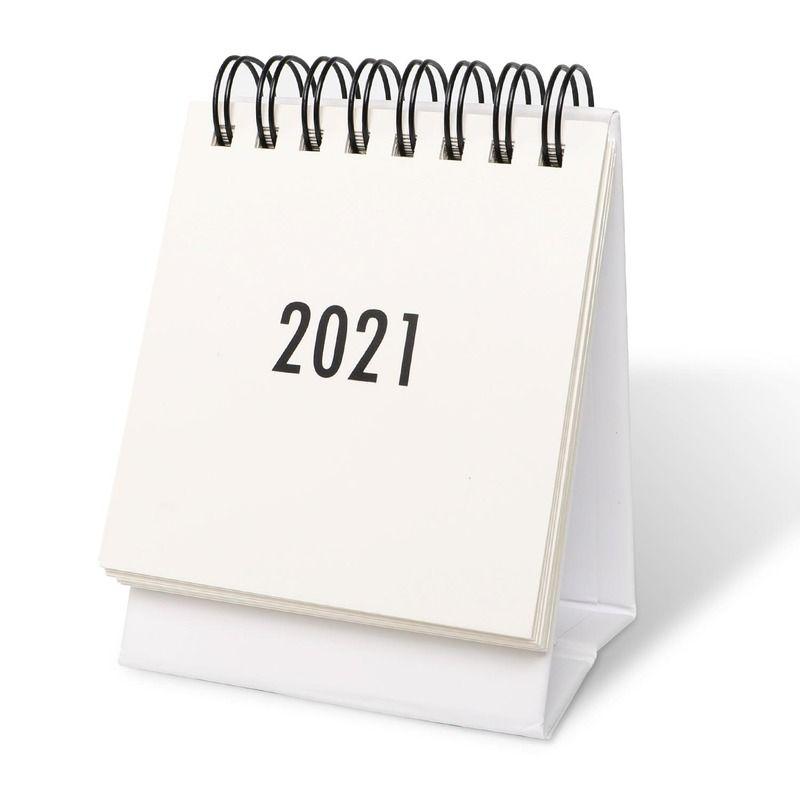 Mini calendario de escritorio 2021 STETE FLIP Calendario 2021 Calendario de pared de escritorio para planificar organización de programador diario comienza con papel espiral