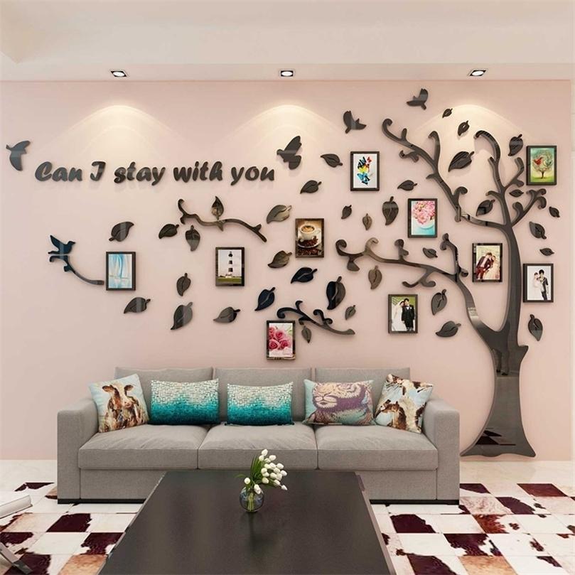 Stickers muraux acryliques de qualité 3D chauds Cadre photo pour la décoration de la maison DIY Creative Bird Tree Fond Fond d'écran Autocollant 201212