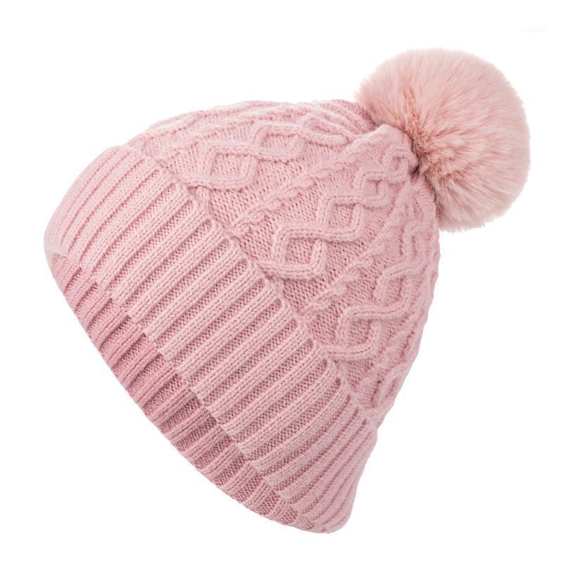 Cappelli di beanie a maglia spessa invernale Bambini Cappelli per bambini per ragazze Ragazzi Pelliccia naturale POM POM POM Cappello per bambini Accessori Capo Gift1