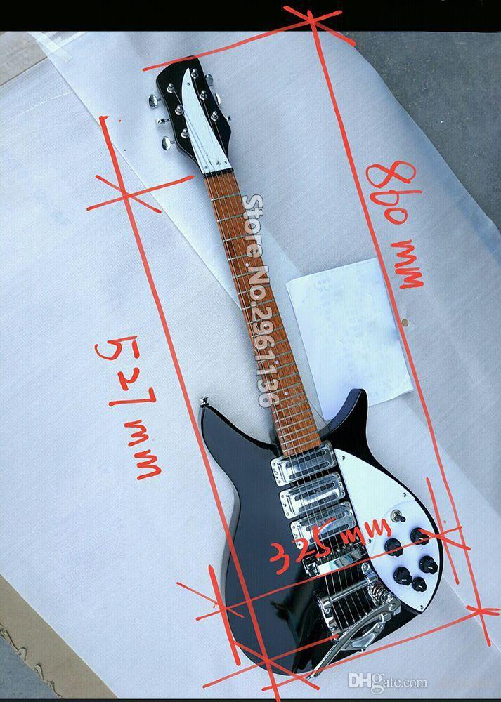 Kina gjorde 325 modellgitarr svart naturlig 21 frets 527mm Skala längd B500 Vibrato elektrisk gitarr