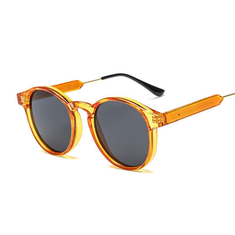 Gótico transparente vintage ronda de sol gafas de sol moda ojo ojo ojo gafas de sol mujer lujo clásico naranja espejo oculos de sol q0121
