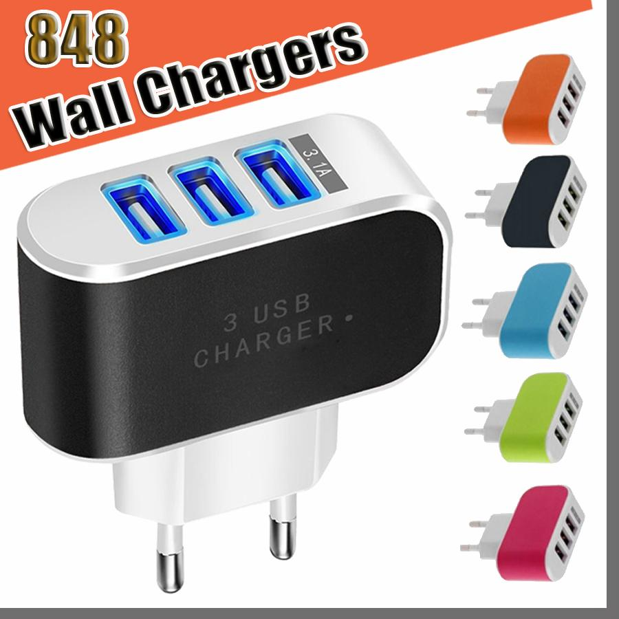 848D US EU Plug 3 USB Wall Chargers 5V 3.1A LED Adapter Travel Convenient Power Adaptor with triple USB Ports For Mobile Phone