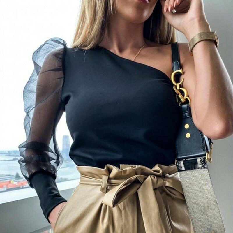 Mulheres Spruff manga blusa plissado camisa longa camisa senhoras sólidas senhoras tee blusa casual top mulheres top femme blusas femininas
