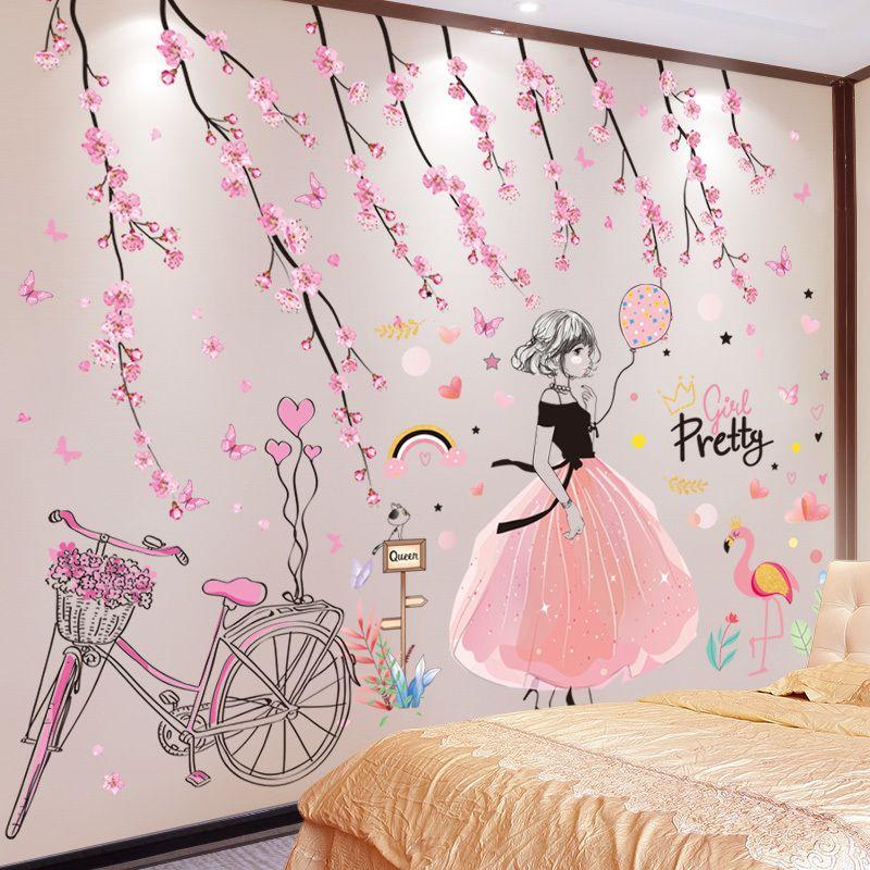 [Shijuekongjian] Pegatinas de la pared de la niña de la historieta DIY Peach Flowers Bicycle Mural Decals para niños Habitaciones Dormitorio de bebé Decoración de la casa 201130