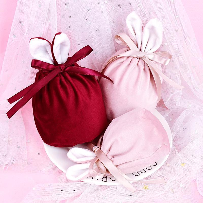 Orecchie di Pasqua Borsa regalo Coulisse in velluto sacchetti di gioielli Borse di caramelle di cioccolato Sacchetti di caramelle di nozze Bomboniera di Pasqua di Natale