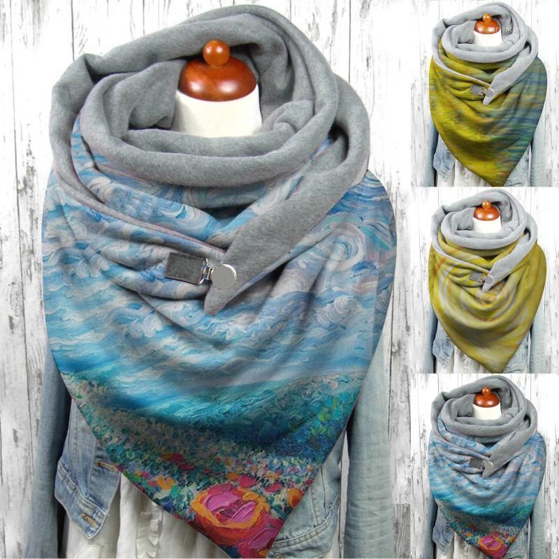 Frauen Herbstschal Mode Winter Frauen Abstrakte Druck Metallknopf Weiche Wrap Warme Große Größe Schals Schals Lady1