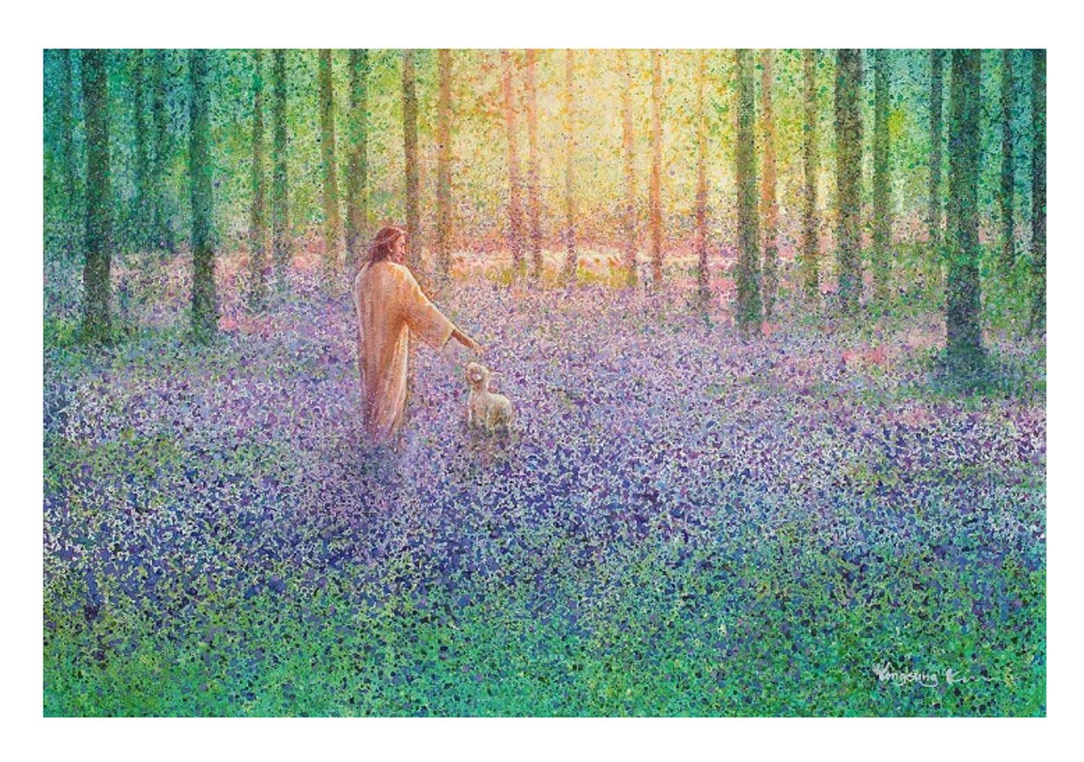 A5 Yongsung Kim WALK WITH ME Canvas Jesus Walking w/Lamb in Wooded Field of Flowers Home Decor Oil Painting On Canvas Wall Art Pictures Js19