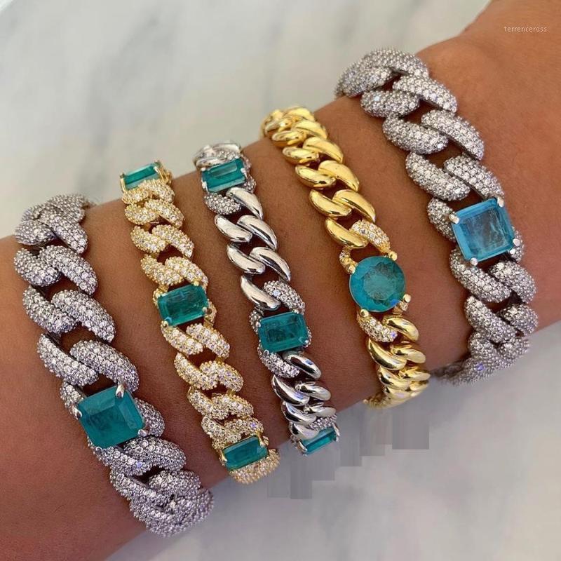 iced out bling hip hop women jewelry 14mm triple row cz cuban big green stone 5A cubic zirconia cuban chain bracelet1