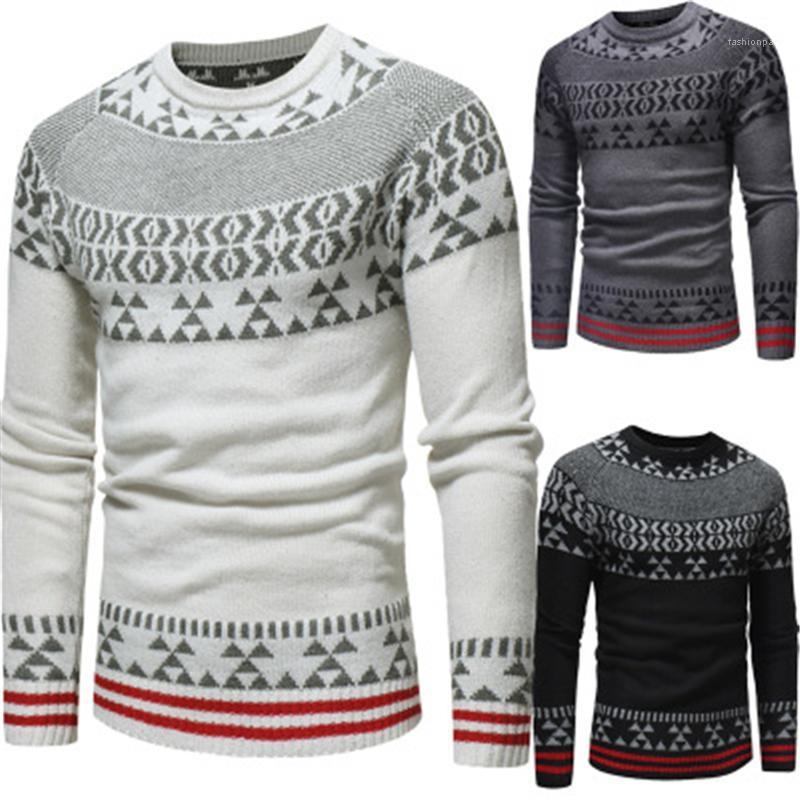Пуловер свитер мужчина весна тонкая повседневная доза теп-мужчина жаккардовые вязальные свитера мода этническое стиль с длинным рукавом круглые шеи