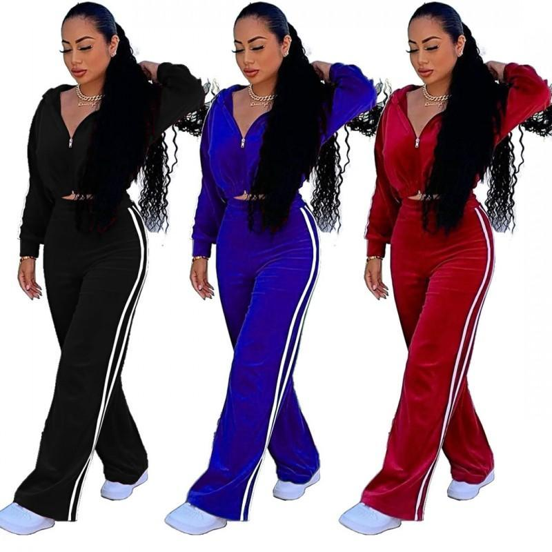 Fashion Casual Two-Pièce Two-Pièce Urban Casual Femmes Couleur Pure Or Gold Velvet Sweetbing Couture Poche Loose Sports Deuxième costume