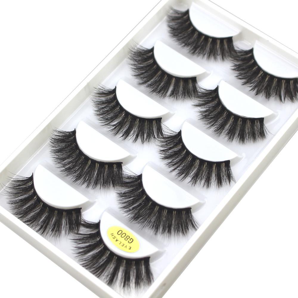 Оптовая 5 пар норки ресницы 100 шт. 3D ложные ресницы крылатые толстые макияж драматические ресницы натуральный объем мягкие поддельные ресницы для глаз G800