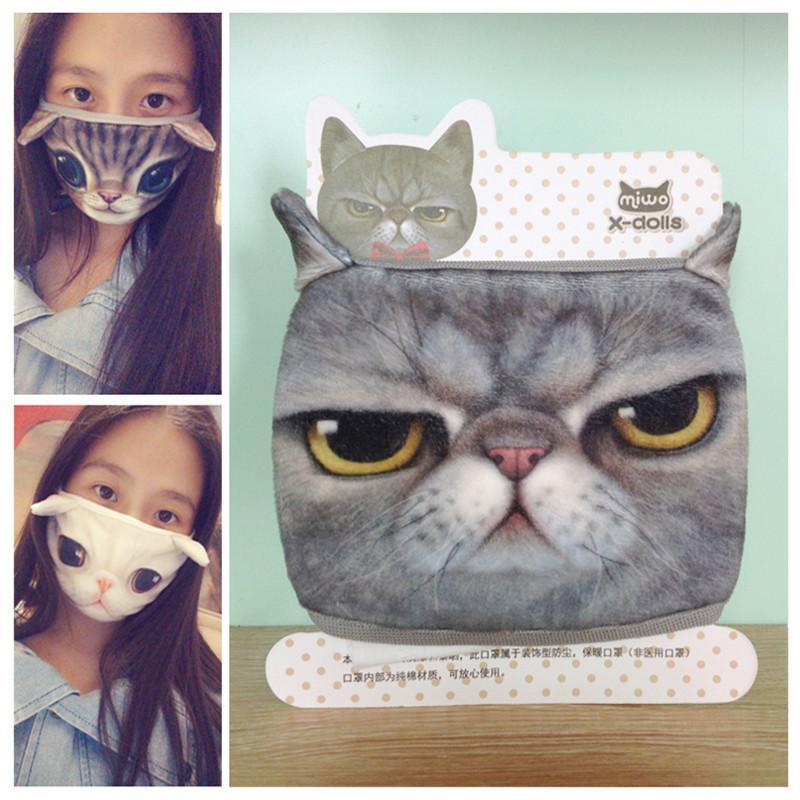 3D Cartoon Designer Masque personnalité chat chien Masques coton Lavable antipoussière Bouche Masque Visage Masques pour les femmes Party réutilisable EWA2354