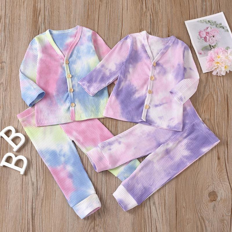 2020 Baby clothes Newborn Infant clothing Baby Boys Girls clothes set Rainbow Tie-Dyed Tops+Pants Outfits clothing Sets 2pcs