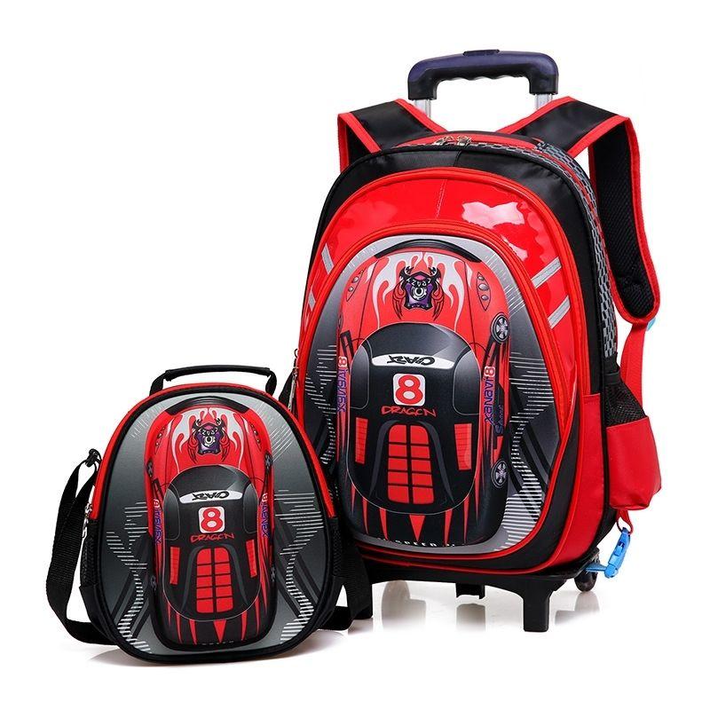 3D Schultaschen auf Rädern Schulwagen Rucksäcke Räder Rucksack Kinder Schule Rollende Rucksäcke für Jungen Kinder Reisetaschen 201204
