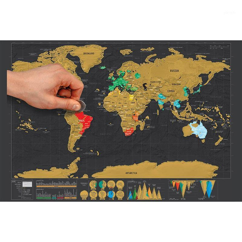 الملونة ملصقا للخدشة أضاف مكافأة مسافر مغامرة خرائط سهلة لخدش أفضل هدية شخصية 1