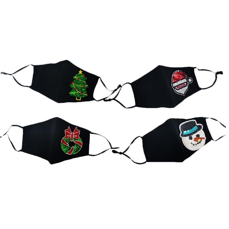 Máscaras de lantejoulas de natal à prova de poeira lavável e reutilizável máscara de decoração de natal máscaras podem colocar filtros ccd3315