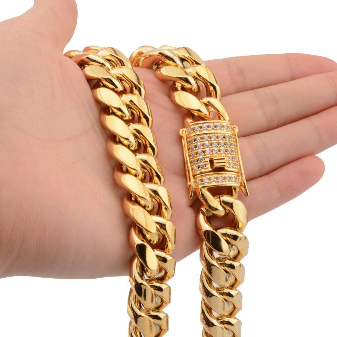 14 мм 16 мм Heavy Mens 18K Gold заполнены сплошные кубинские бордюры цепь ожерелье браслеты Майами мужская кубинская обуздание звена цепи ожерелье браслеты 20'22 '' '' '