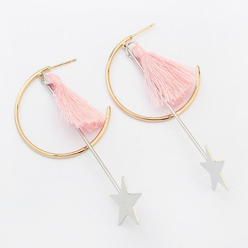 Мода Звездный подвесной металл длинные серьги с кисточкой для женщин украшения